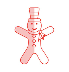 Red shading silhouette of gingerbread man with vector