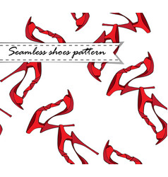 red style shoes pattern vector image