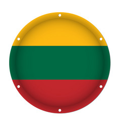 Round metallic flag of lithuania with screw holes vector