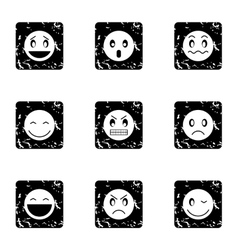 Round smileys icons set grunge style vector