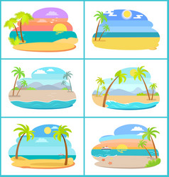 Sandy beaches in broad daylight and at sunset set vector