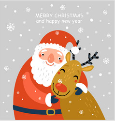 santa and deer vector image