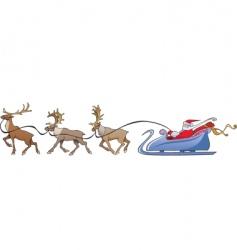 Santa Claus reindeer sleigh vector image