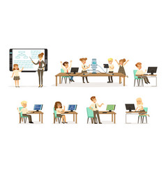 school children at the informatics and programming vector image