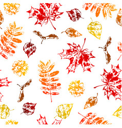 seamless pattern with printed leaves vector image