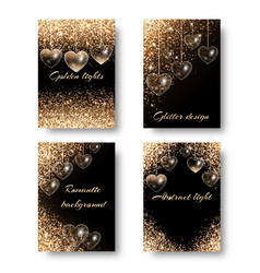 Set of festive backgrounds with hearts vector