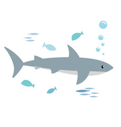shark and fishes vector image