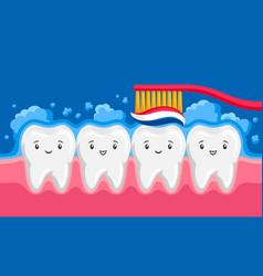 Smiling clean teeth brushing paste vector
