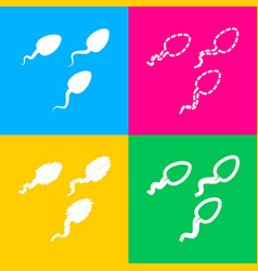 sperms sign four styles of icon on vector image