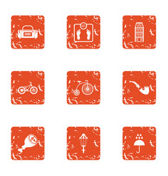 Sport tab icons set grunge style vector
