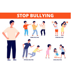 stop bullying aggressive bully school conflict vector image