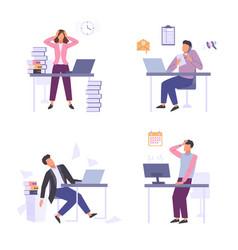 stressful situations work set female character vector image