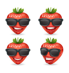 Sunglasses 3d realistic fruit design strawberry vector