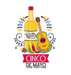 tequila with guitar and maracas to mexican event vector image