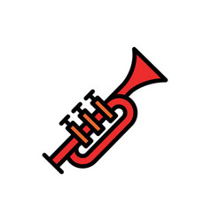 trumpet filled line icon vector image