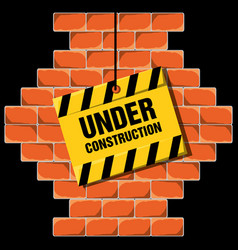 Under construction warning over brick wall concept vector