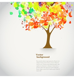 watercolor autumn tree with spray paint Autumnal vector image