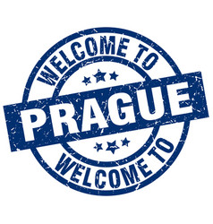 Welcome to prague blue stamp vector