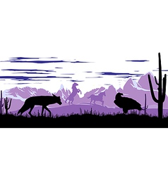 Wild horses coyote and eagle in steppes of vector