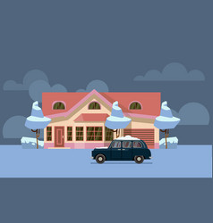 winter country house flat pink home with vector image