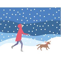 Woman walking dog on leash in snowfall wintertime vector