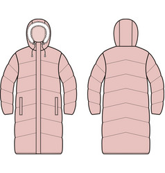 Womens down long coat front and back vector