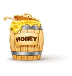 Wooden barrel full of honey vector