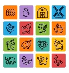 Farm animals black icon set vector