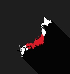 Japan flag map flat design icon vector image vector image
