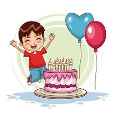 boy jumping on his birthday vector image