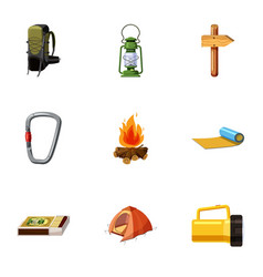 camp icons set cartoon style vector image