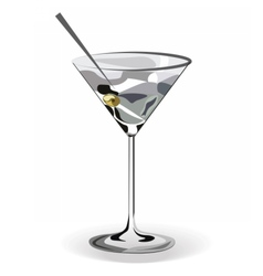 Glass of Martini cocktail vector image