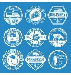 Milk Monochrome Emblems Set vector image vector image