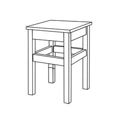 Retro wooden stool vector image