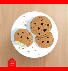 Top view of cookies on plate vector