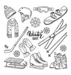 Winter sport scarf gloves ski vector