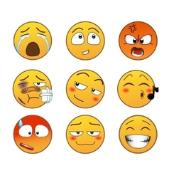 Yellow emotions set vector image vector image
