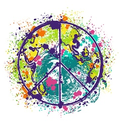 hippie peace symbol on earth globe background vector image