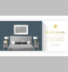 Interior design Modern bedroom background 3 vector image vector image