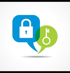 Lock and key in message bubble vector image vector image