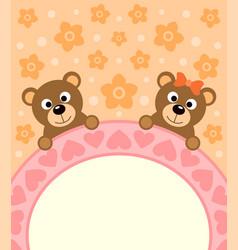 Cartoon background card with bears vector