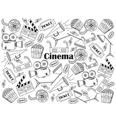 Cinema colorless set vector image vector image