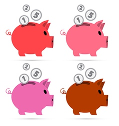 Piggy Bank Set Isolated on White Background vector image