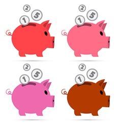 Piggy Bank Set Isolated on White Background vector image