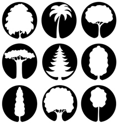 A set of trees icons vector