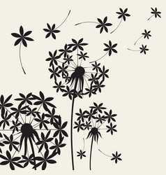 Abstract dandelions dandelion with flying seeds vector