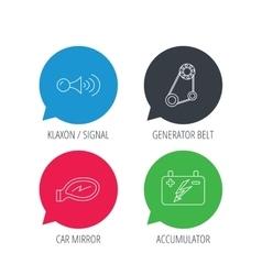Accumulator klaxon signal and generator belt vector