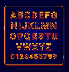 alphabet gold with neon lamp effect vector image