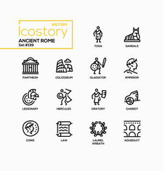 Ancient rome - line design style icons set vector
