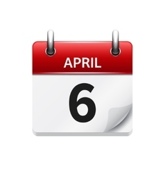 April 6 flat daily calendar icon Date and vector